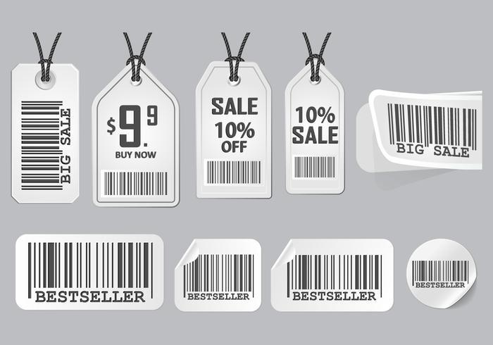 Barcode Advertisement Aufkleber Design Vector Set