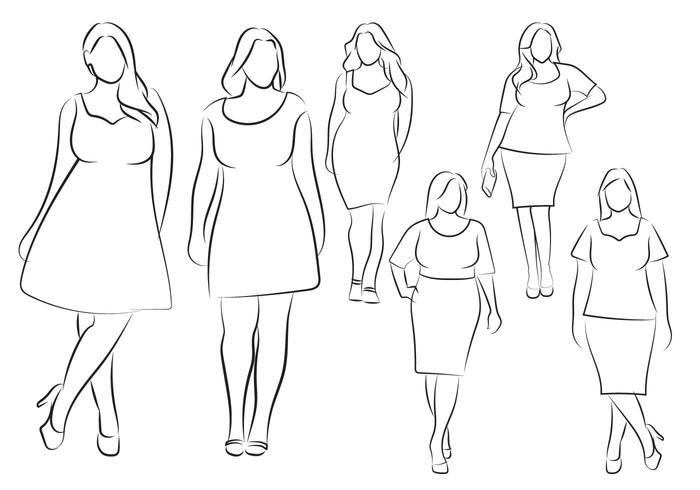 Hand Drawn Outline Fashion Illustration