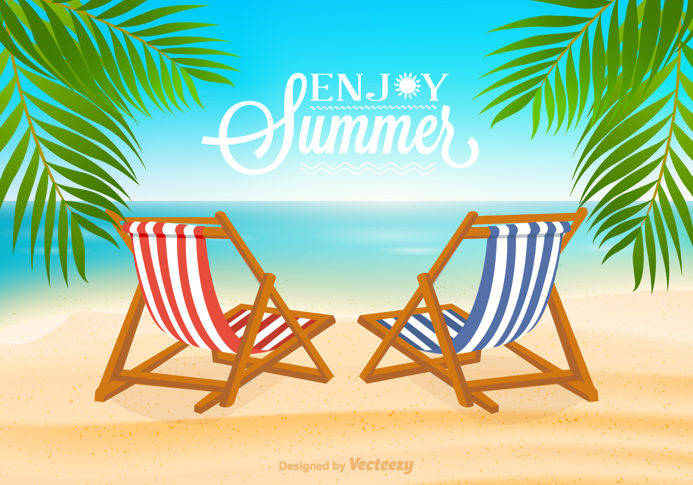 Beach Deck Chair Vector Illustration Download Free