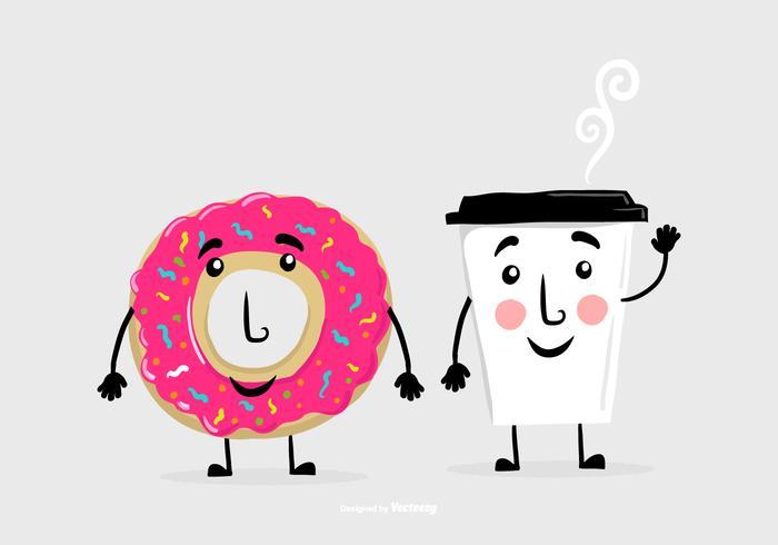 Donut kaffe vän vektorer
