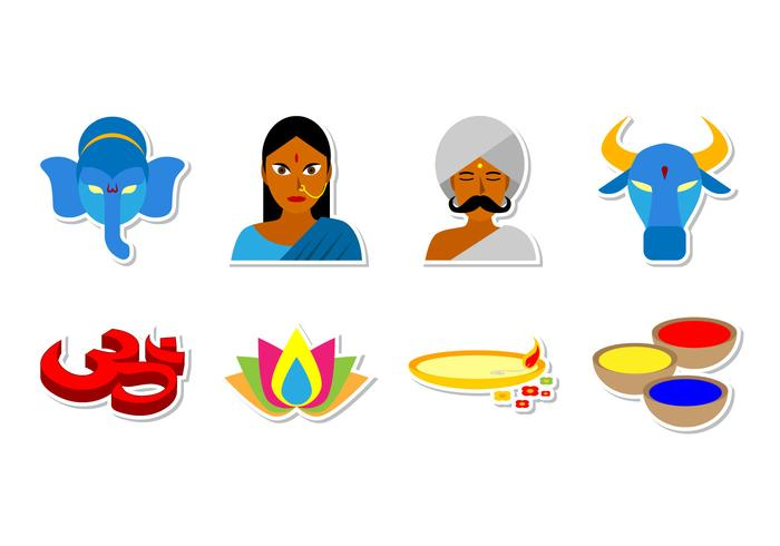 India and Hinduism Icon Vector