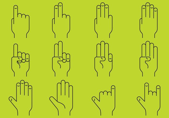 Hands Line Pictogrammen