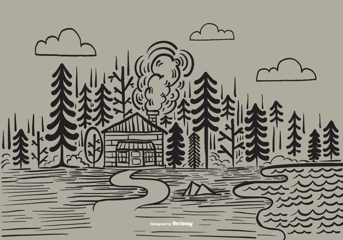 Hand Drawn Forest Cabin Vector