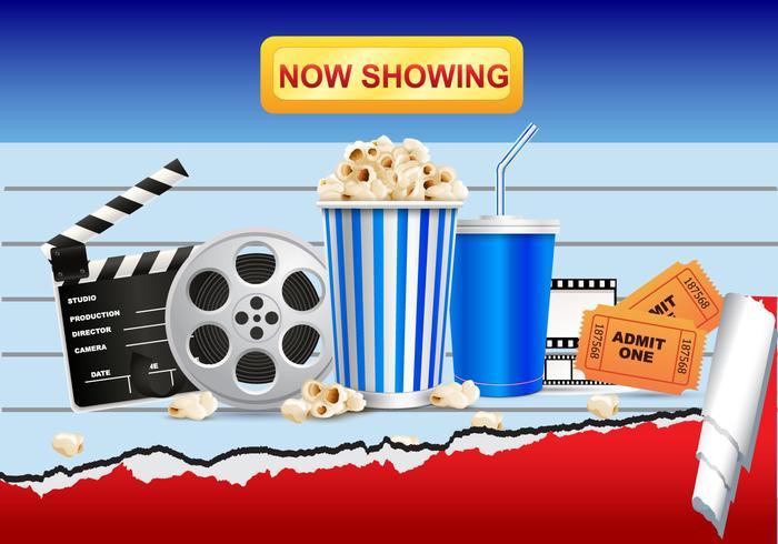 Película de cine realista y palomitas de maíz vectorial vector
