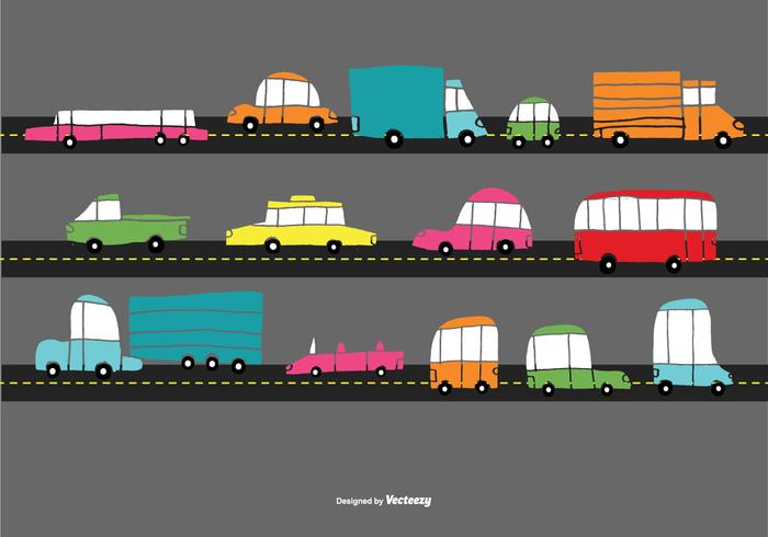 Hand Drawn Traffic Car Vectors