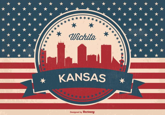 Retro Wichita Kansas Horizon Illustratie