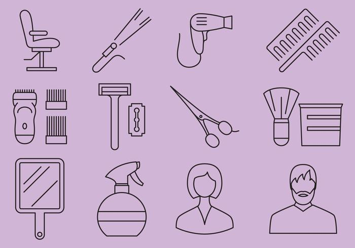 Beauty Salon And Barber Shop Icons