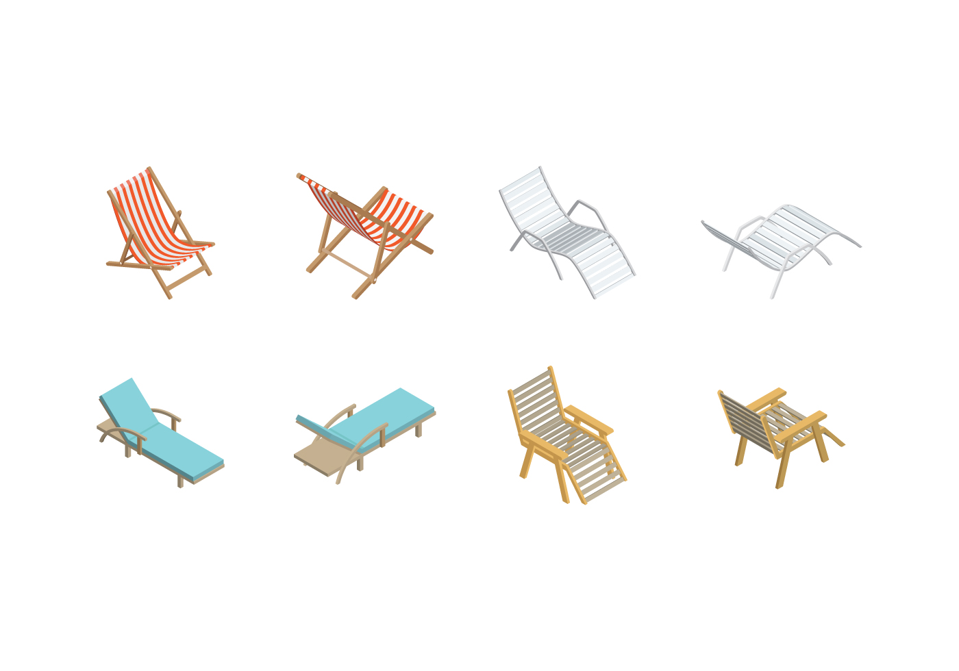 Free Isometric Deck Chair Vector Download Free Vector