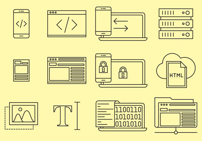 Webdesign lijn iconen
