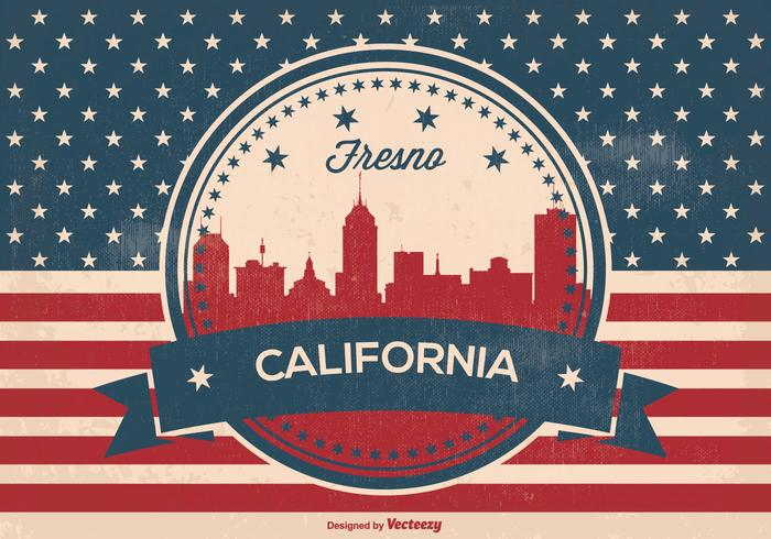 Retro Fresno California Horizon Illustratie