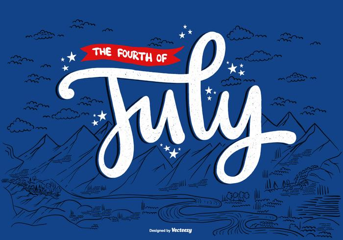 4th of July American Landscape Vector