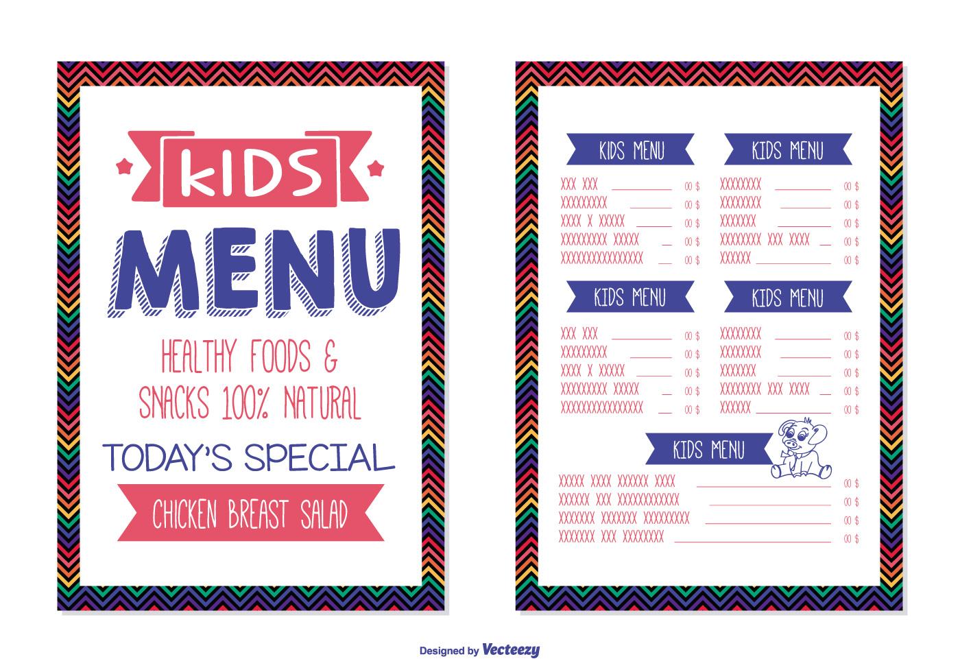 Plantilla de menú para niños - Descargue Gráficos y Vectores Gratis