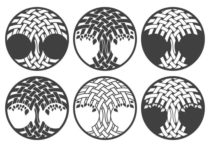 Celtic tree logo set vector