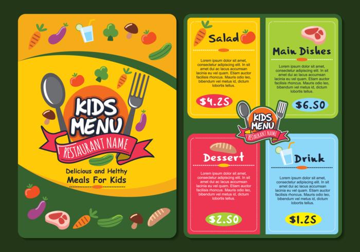 Cute Colorful Kids Menu Template - Download Free Vector Art, Stock ...