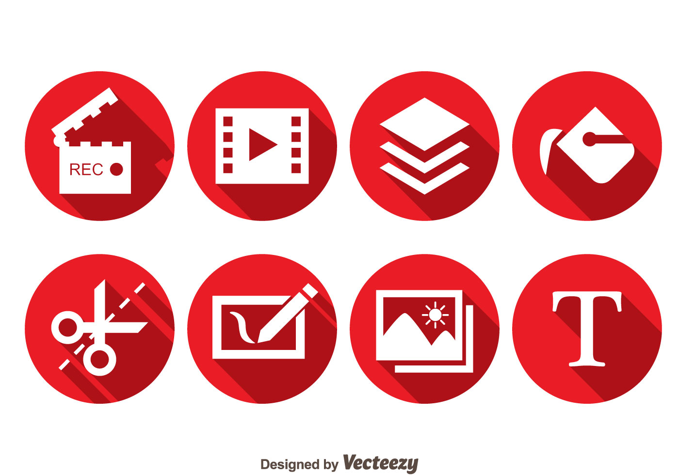 Video Editing Red Circle Icons Download Free Vector Art