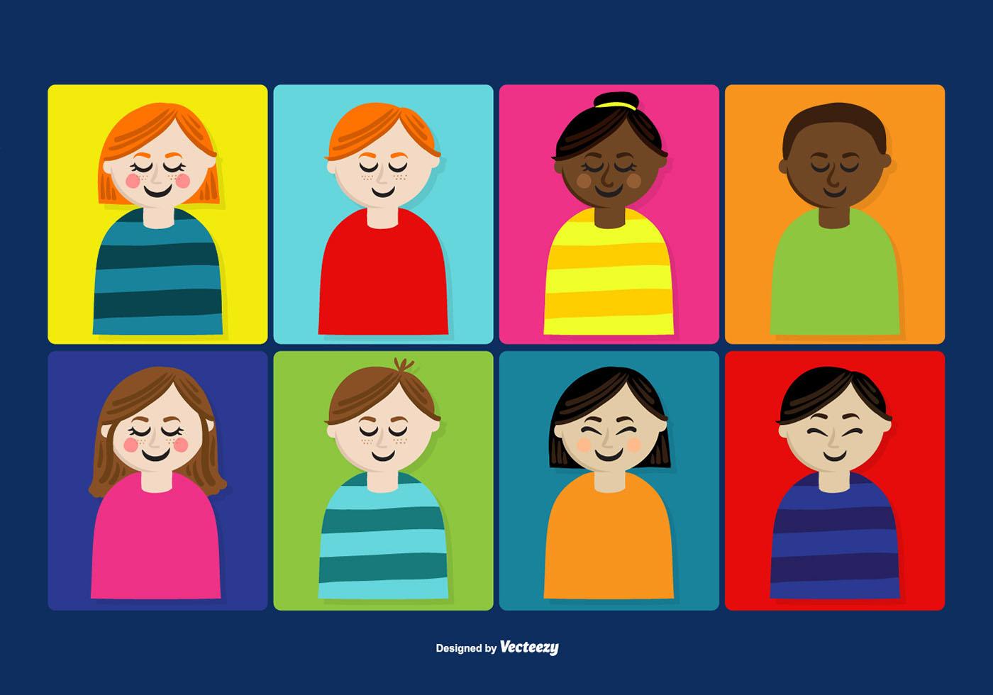 Cute People S Faces Vectors Download Free Vector Art
