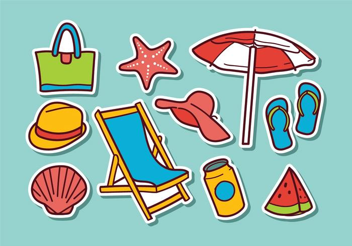 Free Beach Aufkleber Vektoren