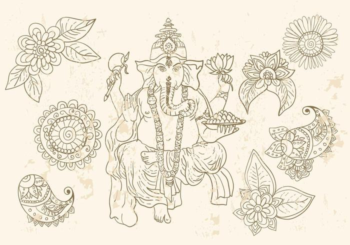 Ganesha And Mehndi Symbols