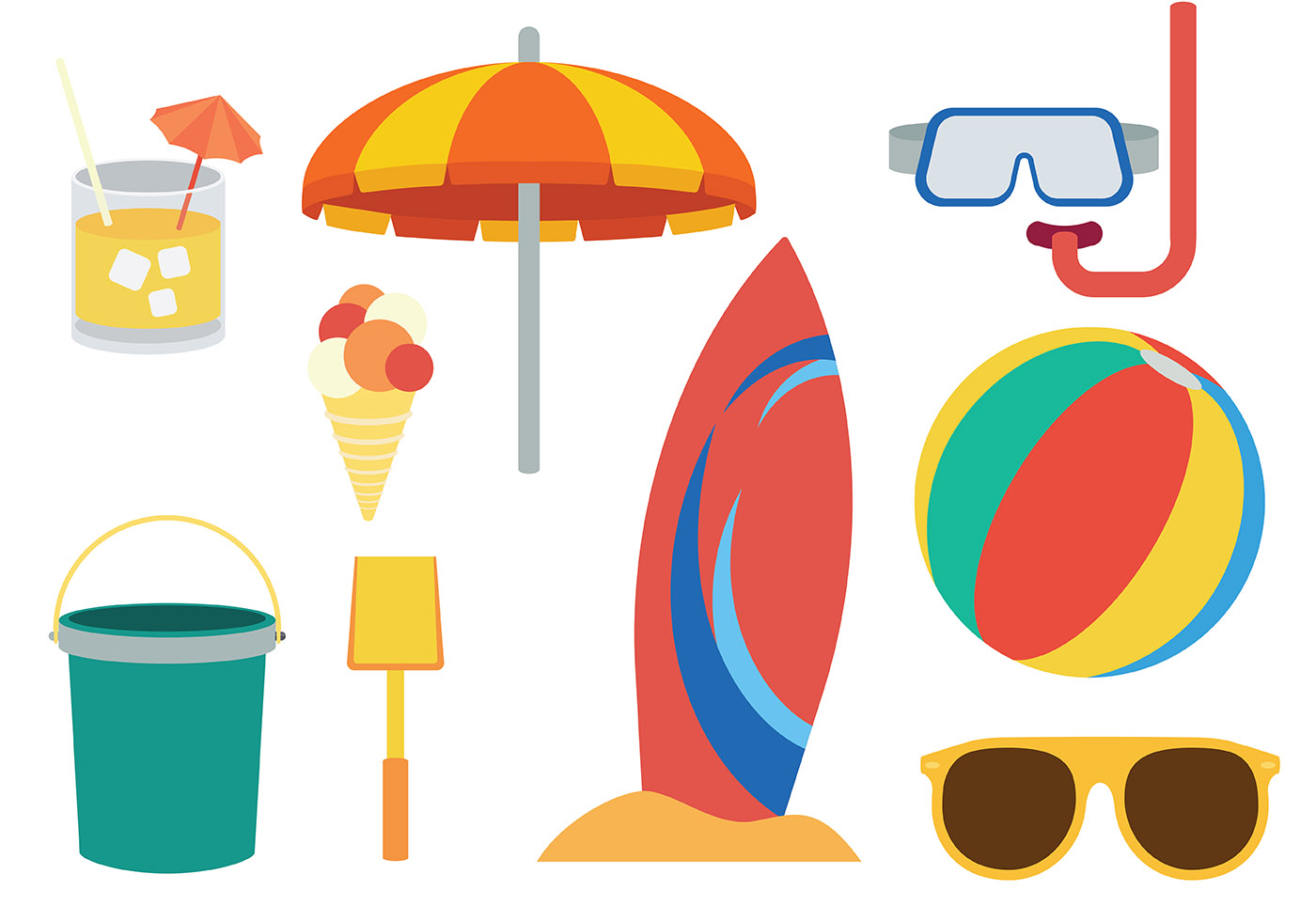 beach theme icons vector download free vector art stock