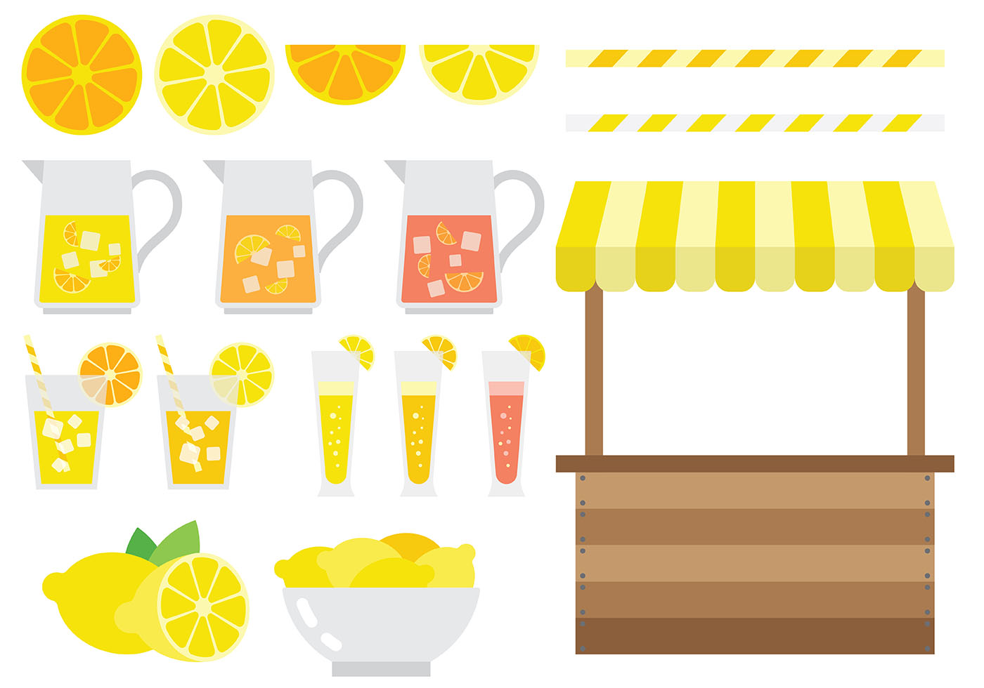 Free Lemonade Stand Icons Vector Natural Fresh Fruit Juice Retro