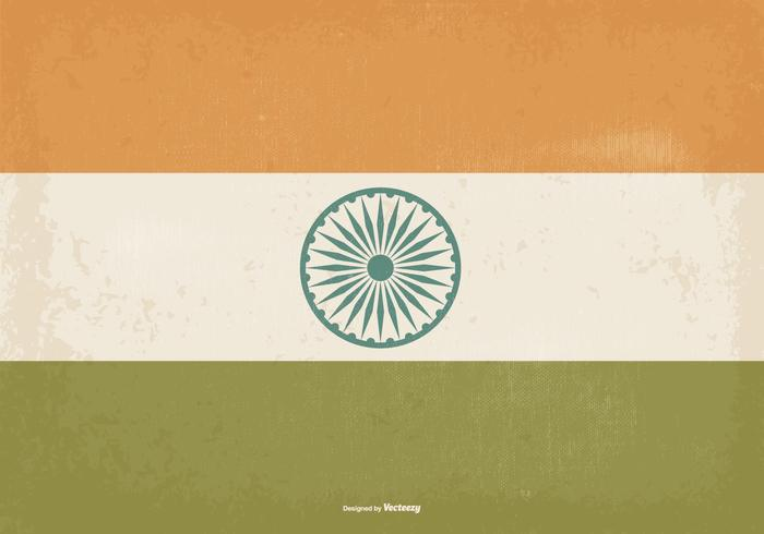 Old Vintage Style India Flag