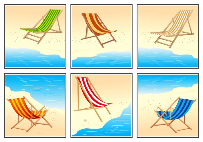 Deck Chair Vector Set