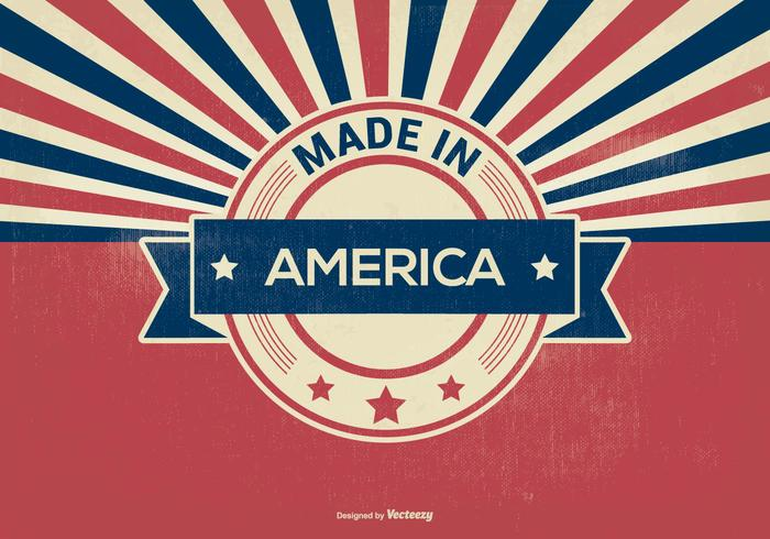 Retro Style Made in America Illustration