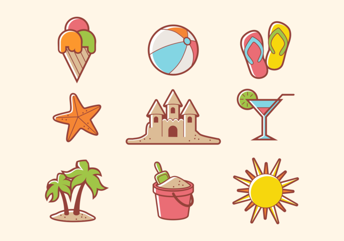 Beach Theme Icon Vectors