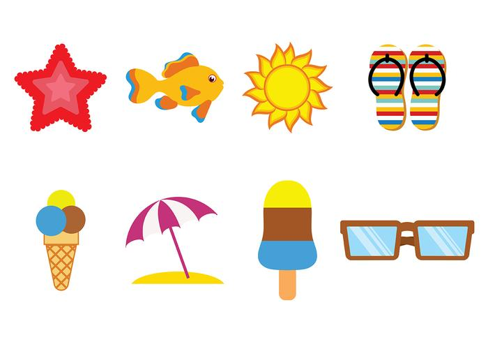 Fun Beach Icon Vectors