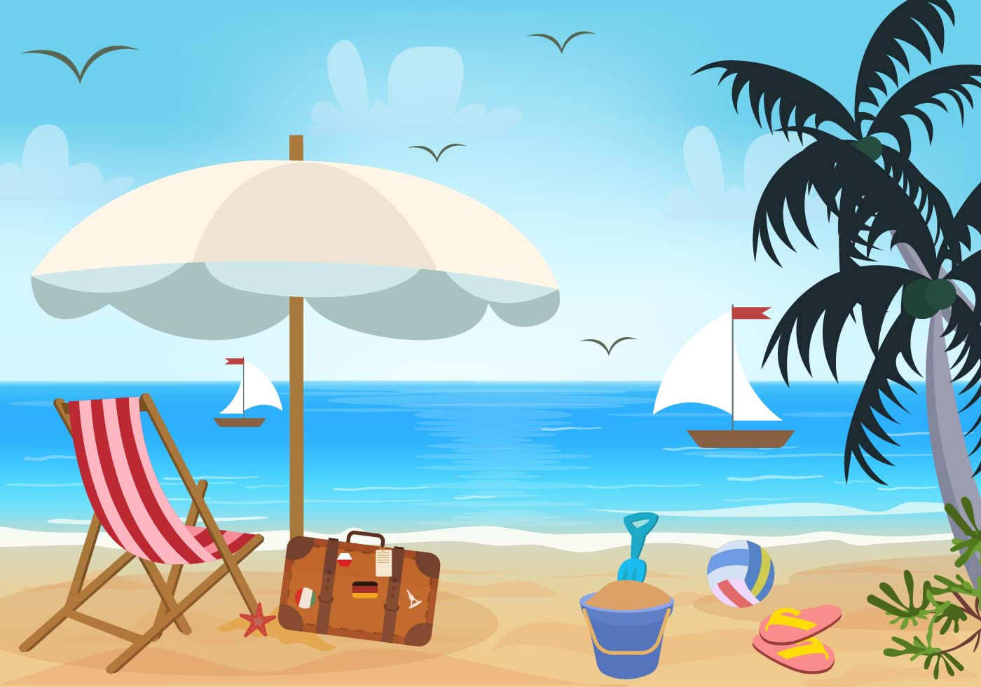 Beach Theme Vector - Download Free Vectors, Clipart ...
