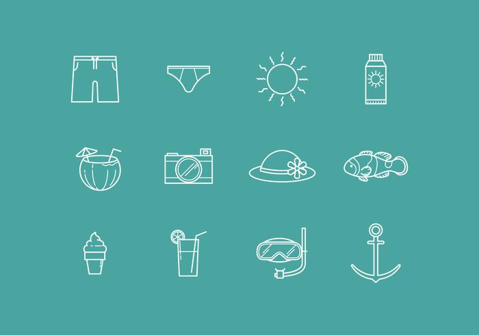 Free Outline Beach Vector