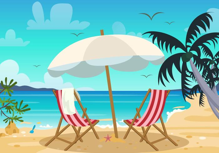 Deck Chair and Beach Landscape Vector