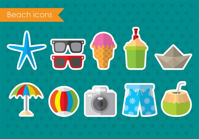 Colorful Vector Beach Icons