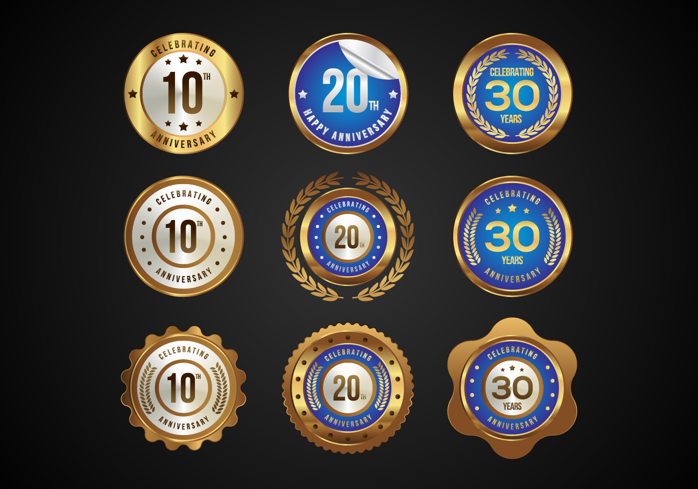 Free Glossy Anniversary Badges Vector Download Free