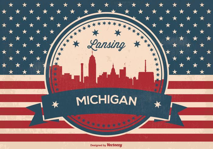Landning michigan retro skyline illustration