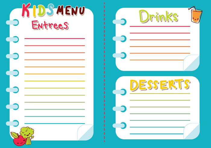 Kids Menu Vector  Free Kids Menu Templates
