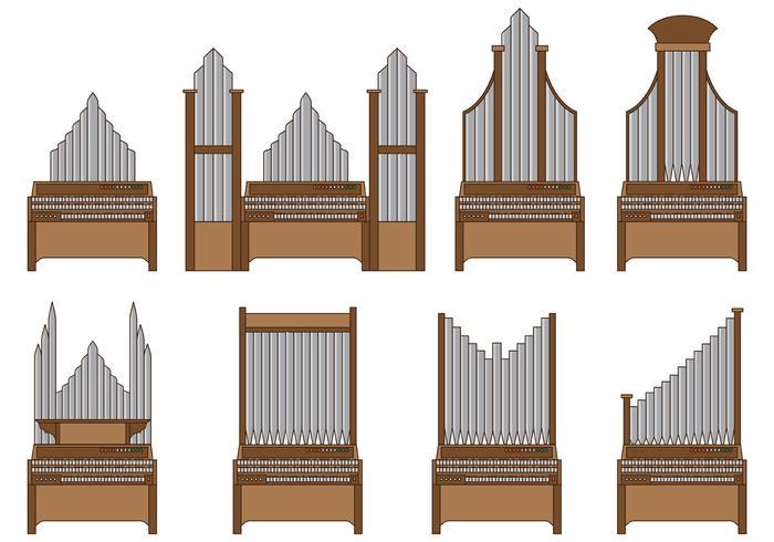 Set Of Pipe Organ Vector