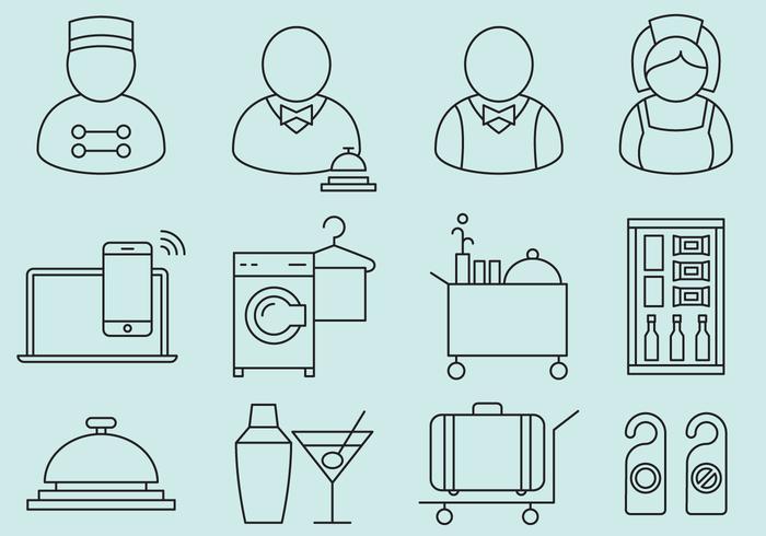 Hotell personal och service ikoner