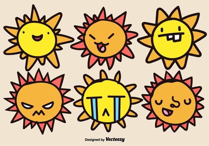 Cartoon Suns Vector Set