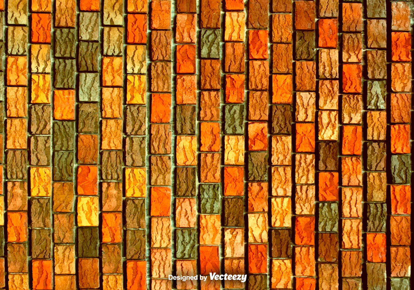 Red Orange And Brown Vertical Bricks Vector Texture