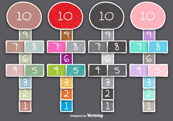 4 Doodle Style Hopscotch Games/Vector elements