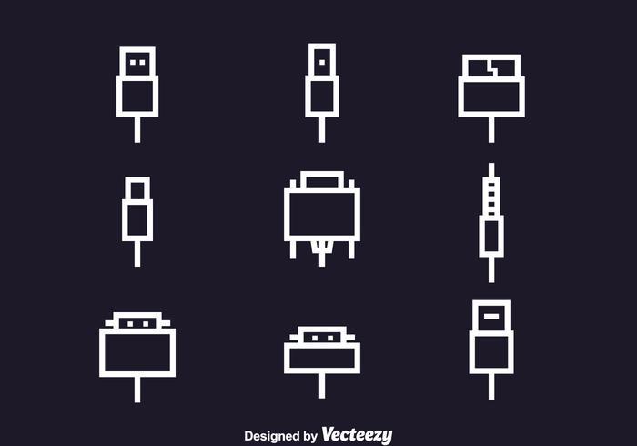 Set di icone di cavi di filo
