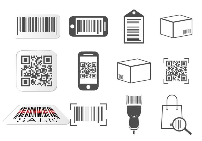 QR code and Barcode icons set