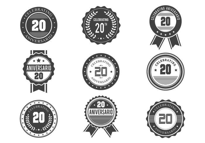 Free Anniversario Retro Badges Design