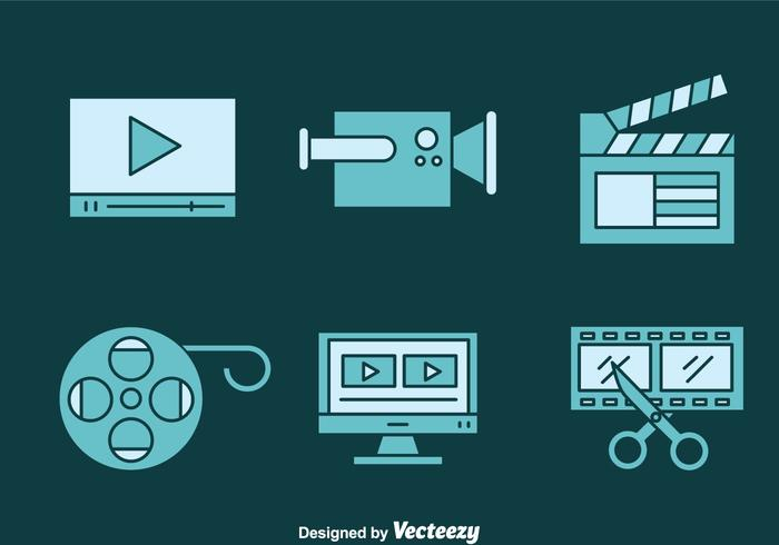 Video Editing Blue Icons