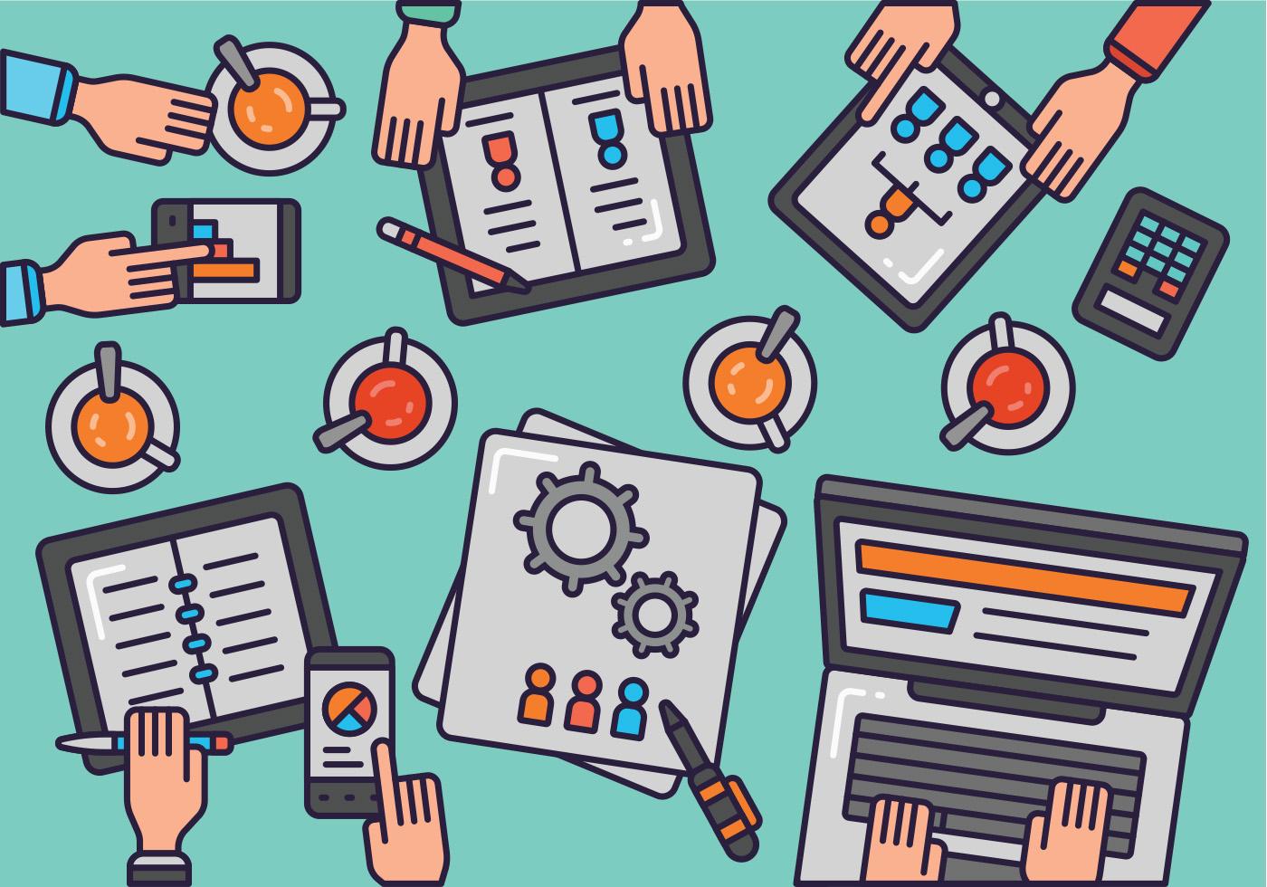 Creative Team Desktop Top View Vector