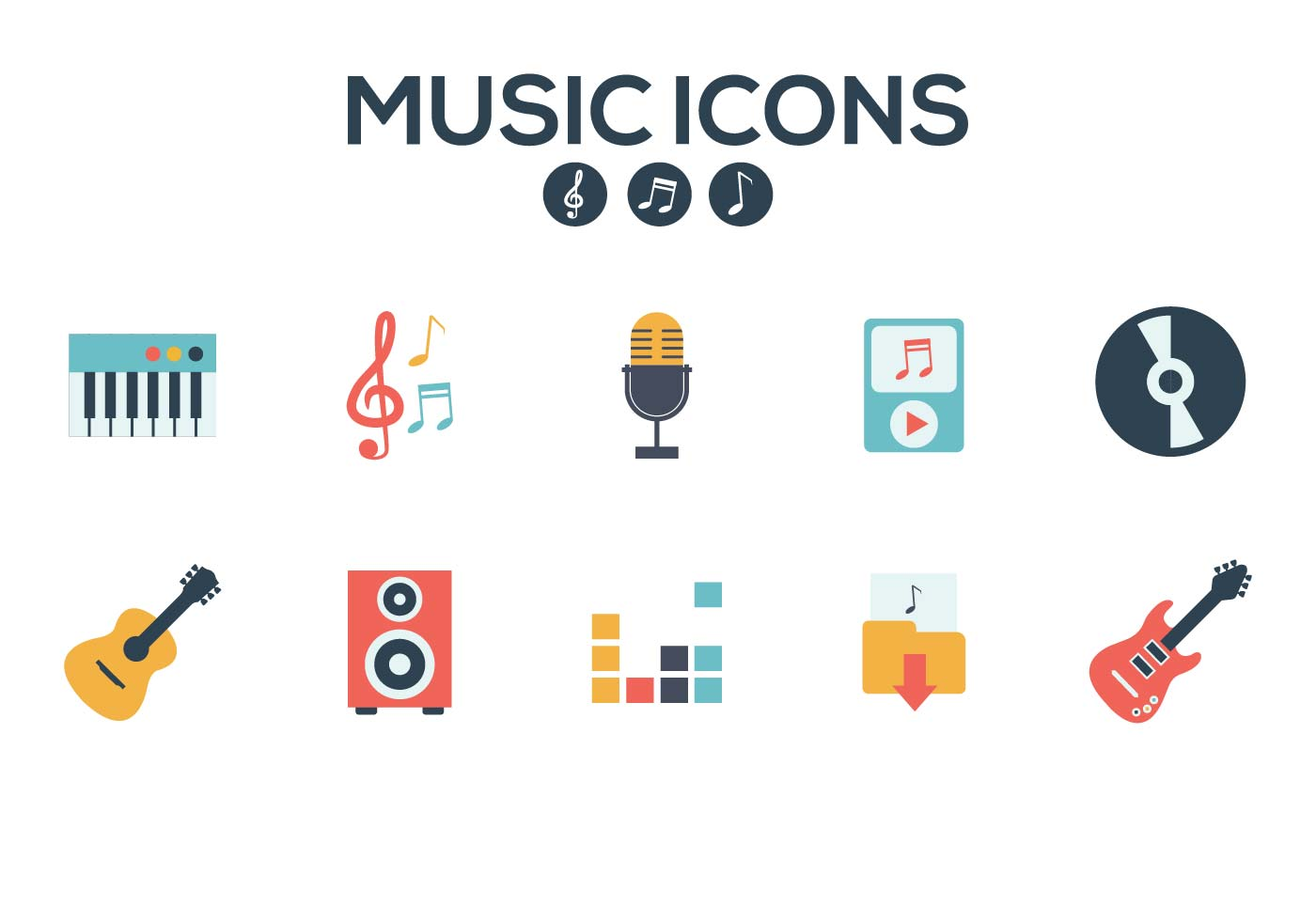 music icons vector download free vector art stock