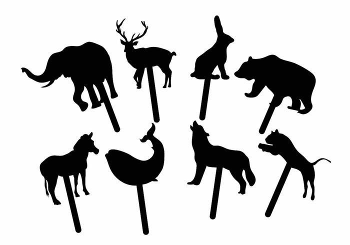 Juego de marionetas de sombra de animales vector