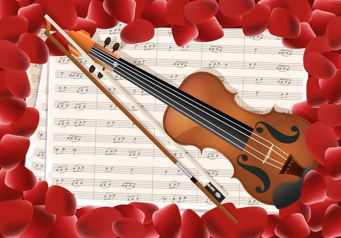 Violin With Notes Key And Red Petals Background