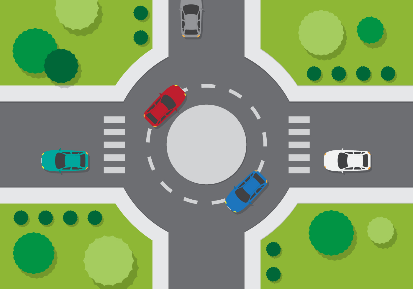 115358 Top View Roundabout on Cartoon Moving Van Clip Art